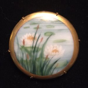 Jewelry - Hand Painted Victorian Porcelain Pin